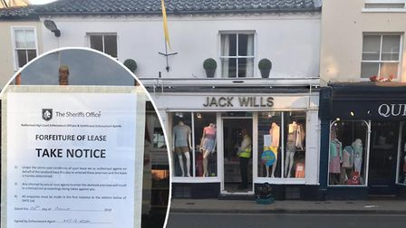The Sheriffs Office has served Jack Wills in Southwold?s High Street with a forfeiture of lease noti
