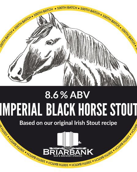 The pump clip for Briarbank Brewery's Imperial Black Horse Stout, which is on sale at the summer bee