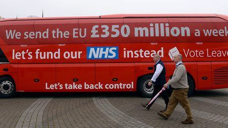 Vote Leave unveiled their infamous �350m for NHS red bus on May 11, 2016. Photo: Stefan Rousseau/PA