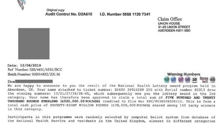 Suffolk Trading Standards received a number of reports from residents who received scam letter in th