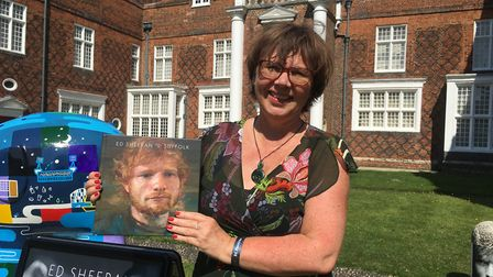 Claire Turnham outside the Ed Sheeran: Made in Suffolk exhibition at Christchurch Mansion Picture: