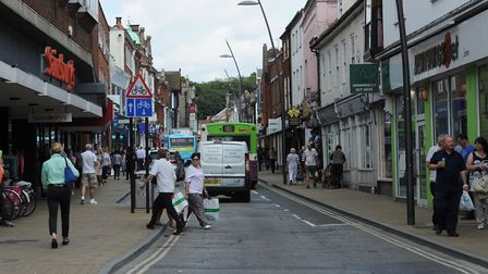 The guide dog was attacked in Upper Brook Street, Ipswich Picture: ARCHANT