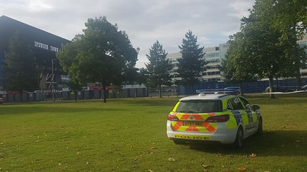 A police cordon was put in place at Alderman Park in Ipswich opposite Portman Road Picture: ARCHANT