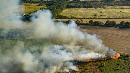 Aerial pictures of the fire in heathland in the outskirts of Ipswich. Picture: SKY CAM EAST