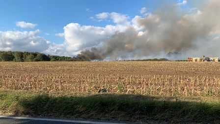 A picture of the fire from an adjacent field. Picture: RICHARD MAYHEW