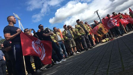 FBU and other union member demonstrators outside Suffolk County Council as part of a protest over Fi