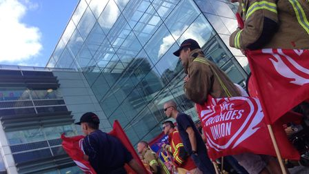FBU demonstrators gather outside Suffolk County Council in Ipswich Picture: Neil Perry