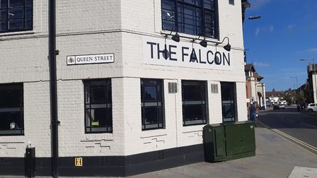 The Falcon on the corner of Queen Street, close to the Ipswich Buttermarket shopping centre, has sud