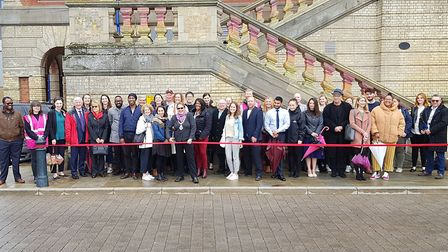 Jane Riley, the deputy mayor of Ipswich, cut the ribbon at the launch of the event. PICTURE: RACHEL