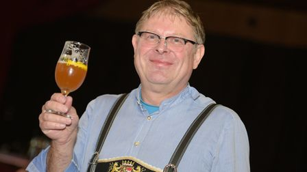 Uli Schiefelbein with his Blau & Weiss brew, German style brewed in Leiston. Picture: SARAH LUCY BR