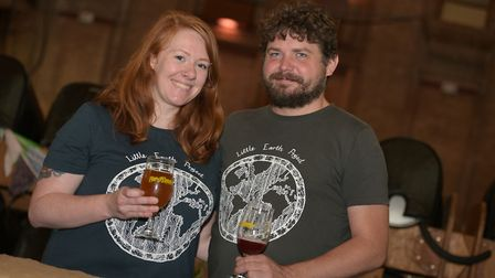 Dani Mountain and Tom Norton from the Little Eath Project with their beers including Rhubarb Saison
