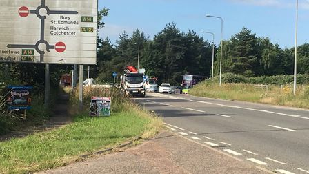 The closed road following the fatal accident at Wherstead Road, Ipswich, near the ski centre Picture