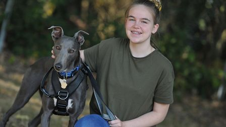 Blue with Emilijah Tricker. The Trickers have adopted the lurcher after almost two years with the RS