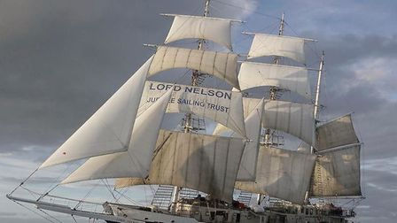 The Lord Nelson, under sail. The tall ship could be moving to Ipswich for a new role as a quayside t