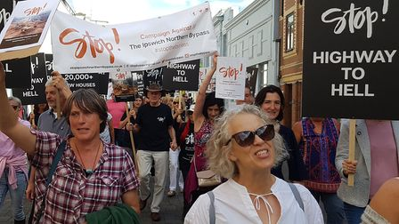 Hundreds of people took part in a march against the bypass through Ipswich. Picture: Neil Didsbury