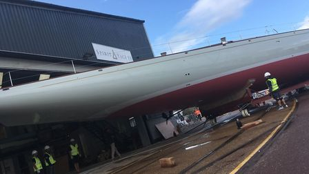 Spirit Yachts' new superyacht Spirit 111 safely moved outside its Ipswich boat shed. Picture: NEIL P
