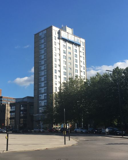 Cladding has been removed from the outside of St Francis Tower on Franciscan Way in Ipswich Pictu
