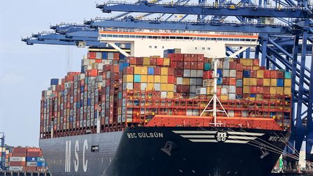 The MSC Gulsun docked in at Felixstowe Docks. Massive new logisitcs warehouse are being built around