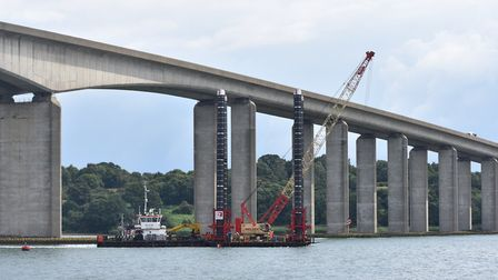 Ipswich-based Red7Marine taking part of a pontoon structure under the Orwell bridge Picture: RED7MA