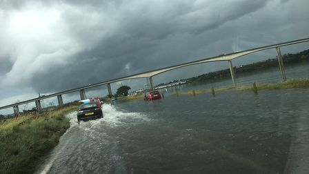 The Strand near the River Orwell flooded earlier today amid Met Office warnings Picture: GERALD GORA