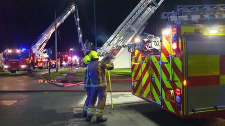 Fire crews from Suffolk and Essex were called to the scene of the bungalow fire in Felixstowe. Pictu