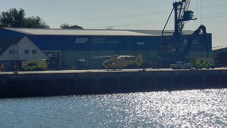 The air ambulance and other emergency service vehicles at the docks in Port of Ipswich during the in