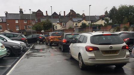Drivers became frustrated as they struggled to get out of the busy car park in Ipswich town centre P