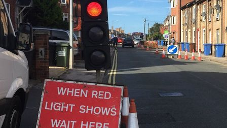 Temporary traffic lights caused delays in Norwich Road, Ipswich Picture: ARCHANT