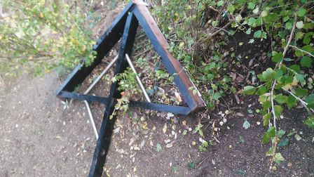 The piece of rail which fell from the side of the shelter Picture: CONTRIBUTED