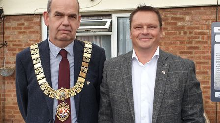 Mayor Nick Barber and councillor Darren Aitchison outside 61 King Street, Felixstowe, which was dest