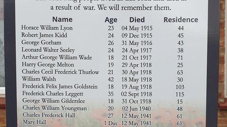 The sign in King Street, Felixstowe, detailing the people who lived there and lost their lives in wa