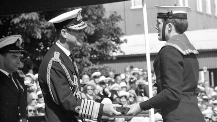 Prince Philip visits HMS Ganges royal navy training ship in Shotley in 1973 Picture: RICHARD SNASDE