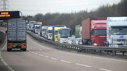 There are delays on the A14 this evening following a collision Picture: ARCHANT
