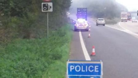 The scene on the A14 slip road at Wherstead Picture: NORFOLK AND SUFFOLK ROADS AND ARMED POLICING TE