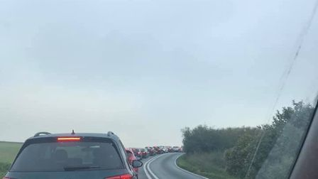 Commuters are tired of waiting as the traffic hasn't moved for over an hour now. Picture: LUCY EVANS
