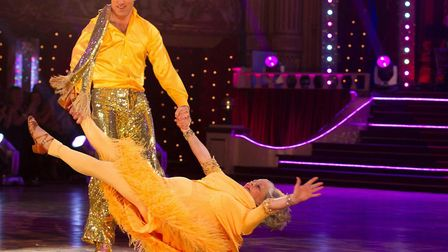 Floorless: Ann Widdecombe being swept across the Strictly dance floor in an innovative duster moveme