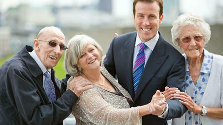 Ann Widdecombe and Anton du Beke take a turn with care home residents Clifford Morgan (84), far left