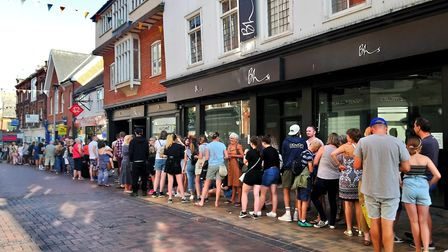 Fans queued outside the Ed Sheeran pop up shop in Ipswich Picture: ARCHANT