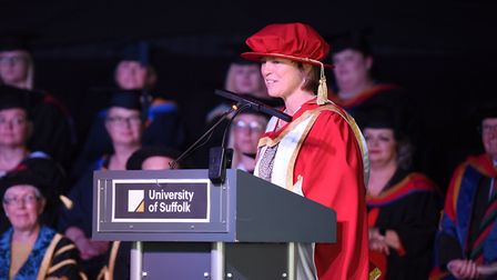 Rebecca Crerar receives her honorary fellowship Picture: University of Suffolk