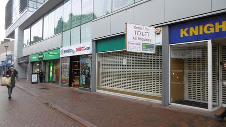 Empty shop unit in Carr Street, next to Sports Direct entrance and Specsavers Picture: DAVID VINCENT