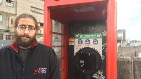 Joe Joskow of the Community Heartbeat Trust at the former phone box on Stoke Bridge from where the d