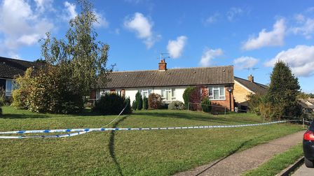 Police at the scene in Quinton Road, Needham Market, where a woman in her 30s was stabbed Picture:
