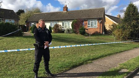Nearby homes were cordoned off by police following the incident in Quinton Road, Needham Market Pic