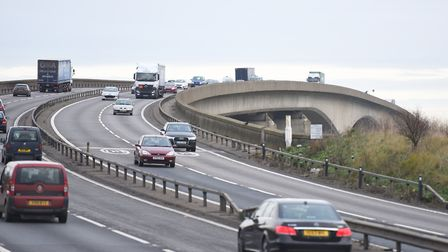 The Orwell Bridge closed briefly on Friday evening Picture: GREGG BROWN