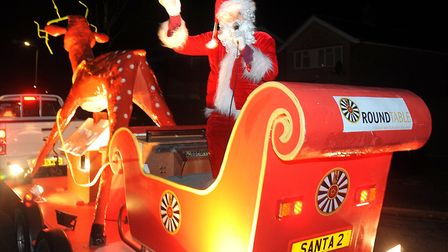 Santa at the start of the Round Table Rudolph Run around the Crofts Picture: SIMON PARKER