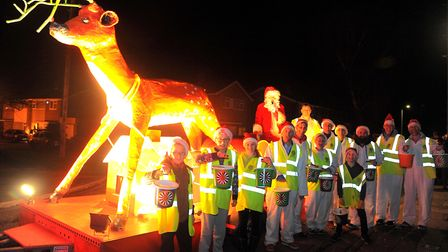 Fundraisers at the start of the Round Table Rudolph Run around the Crofts Picture: SIMON PARKER
