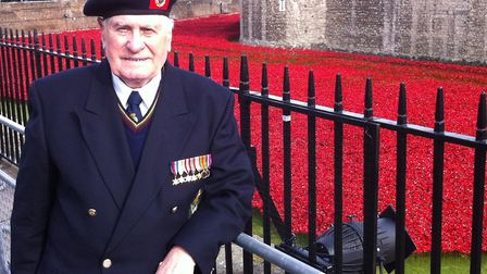Maurice Pink with the sea of poppies. In 2014 the Tower of London marked the centenary of the outbre