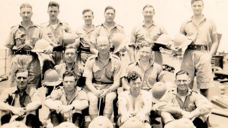 The HMS Repulse band. Maurice is fourth from the left in the top row Picture: Pink family archive