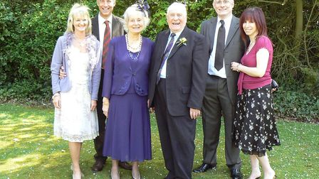 The Pinks. From left, Helen, husband Clive, Sylvia, Maurice, Stephen and wife Sharon Picture: Pink