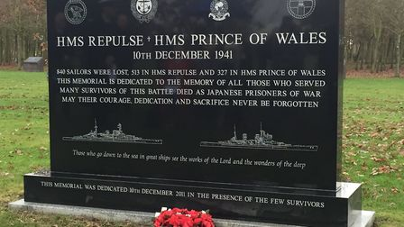 The monument to the memory of those on HMS Repulse and HMS Prince of Wales Picture: Pink family arc